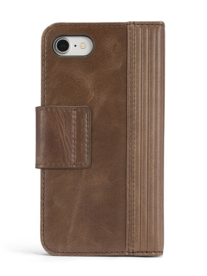 Diesel - BROWN LINED LEATHER IPHONE 8/7 FOLIO, Brown - Flip covers - Image 6