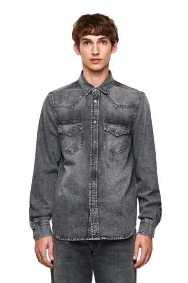 Western shirt in super stonewashed denim
