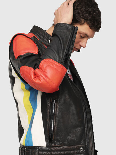 Diesel - L-YUJA, Black/Red - Leather jackets - Image 3
