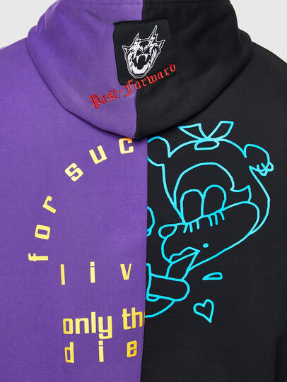 Diesel - S-UMMER-SPLIT-N1, Black/Violet - Sweatshirts - Image 4