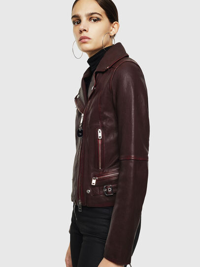 Diesel - L-YLE, Burgundy - Leather jackets - Image 4