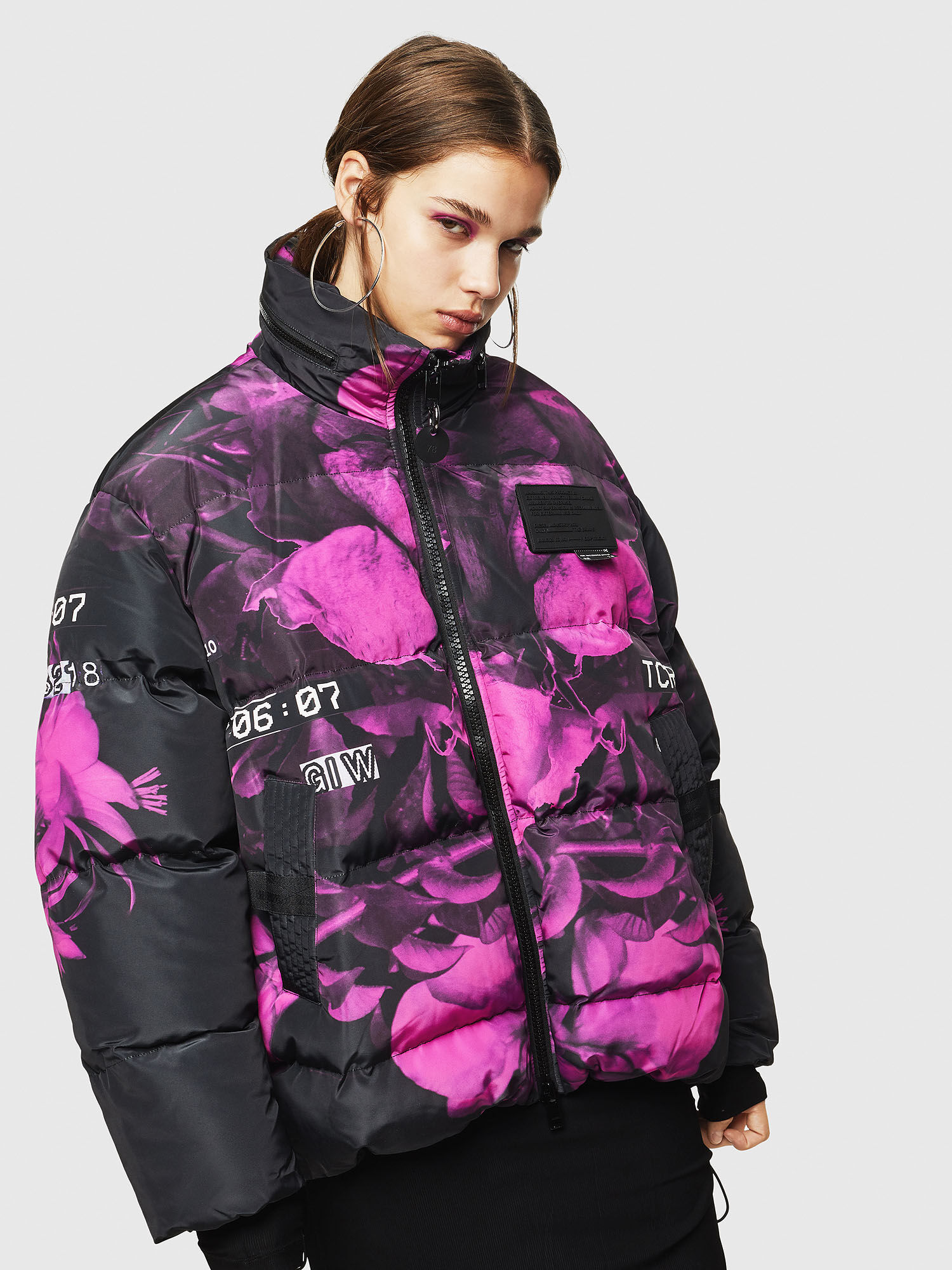 Puffer jacket with floral print