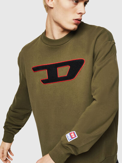 Diesel - S-CREW-DIVISION-D, Military Green - Sweatshirts - Image 4