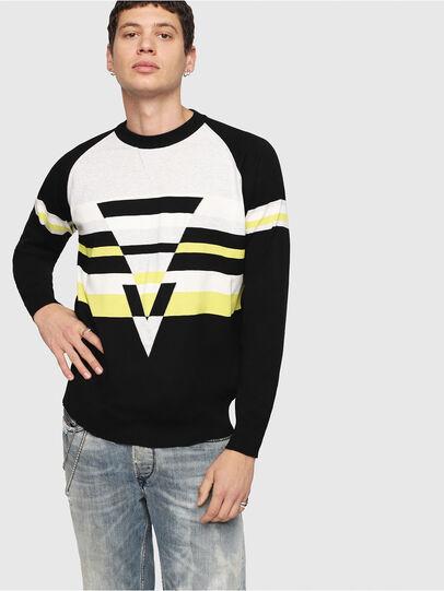 Diesel - K-SHUFF, Black/White - Sweaters - Image 1
