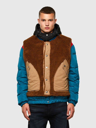 Diesel - W-HEROESY, Blue/Brown - Winter Jackets - Image 1