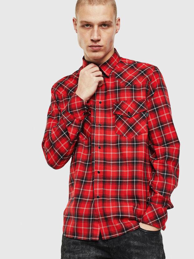 S-EAST-LONG-N, Red/Black - Shirts