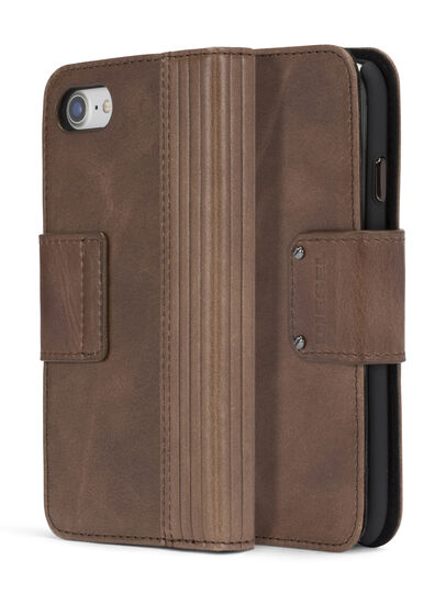 Diesel - BROWN LINED LEATHER IPHONE 8/7 FOLIO, Brown - Flip covers - Image 3