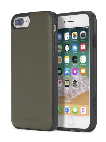 Diesel - OLIVE GREEN LEATHER IPHONE 8 PLUS/7 PLUS/6s PLUS/6 PLUS CASE, Olive Green - Cases - Image 1