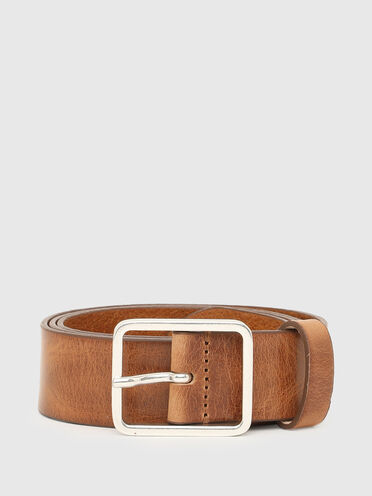 Leather belt with slim buckle