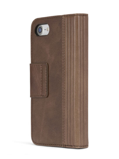 Diesel - BROWN LINED LEATHER IPHONE 8/7 FOLIO, Brown - Flip covers - Image 5