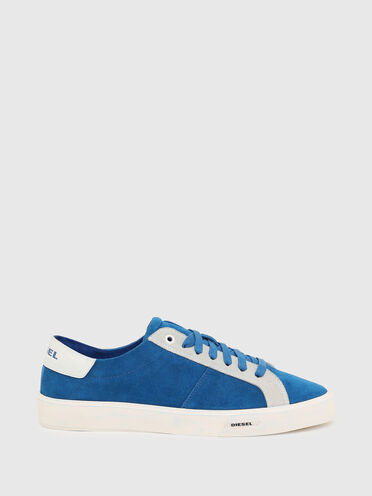 Low-top sneakers in treated suede