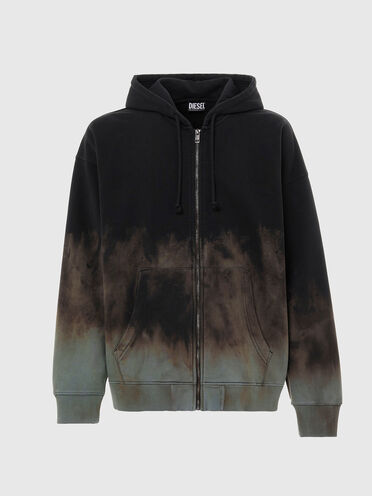Dip-dyed zip-up hoodie with embroidery