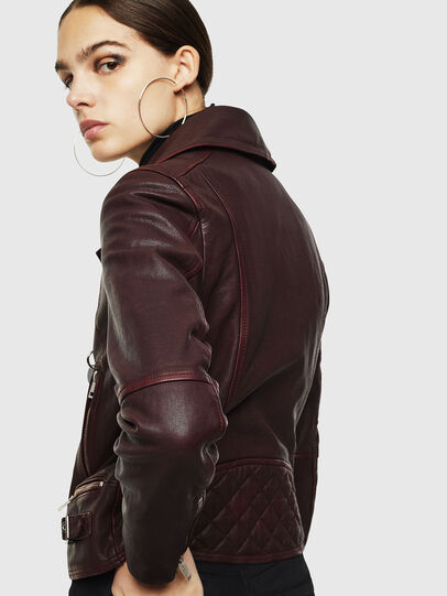 Diesel - L-YLE, Burgundy - Leather jackets - Image 5
