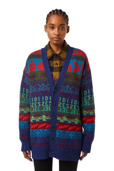 Longline jacquard-knit cardigan
