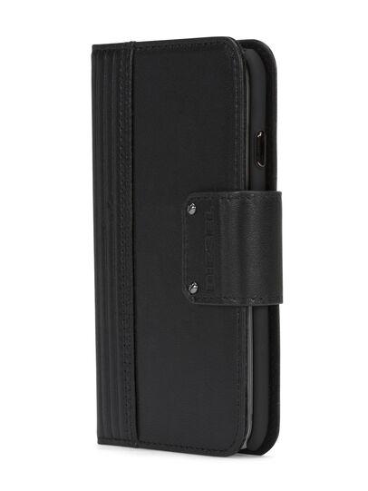 Diesel - BLACK LINED LEATHER IPHONE 8 PLUS/7 PLUS FOLIO, Black - Flip covers - Image 2