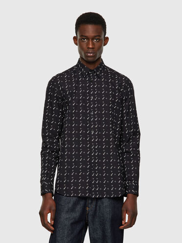Shirt in printed cotton poplin