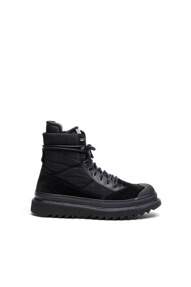 Hybrid boots in suede and nylon