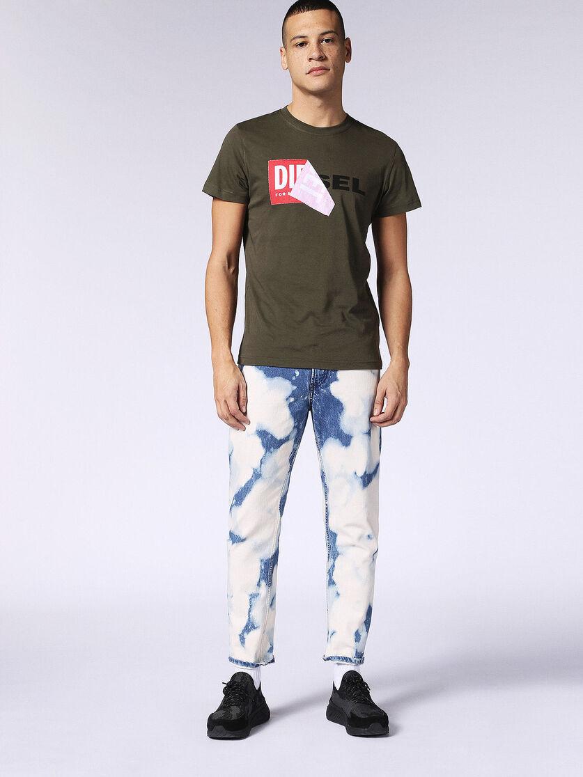 DIESEL T-DEIGO QA Mens T-Shirt Crew Neck Black White Green 100/% Cotton