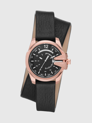 Baby Chief three-hand date black leather watch