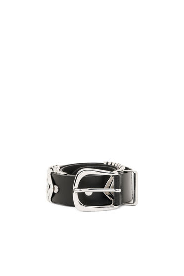 Leather belt with metal overlays