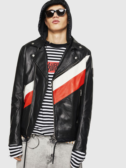 Diesel - L-SOLOVE, Black/Red - Leather jackets - Image 1