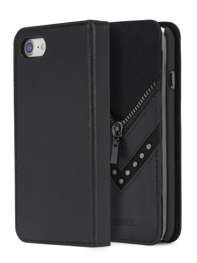 Diesel - BLACK DENIM/STUD/ZIPPER IPHONE 8 PLUS/7 PLUS  FOLIO, Black - Flip covers - Image 3