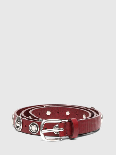 Leather belt with engraved studs
