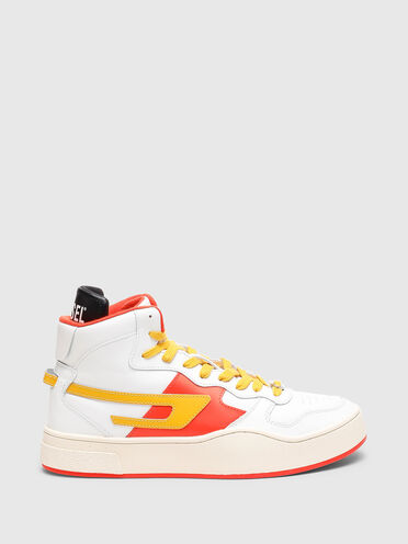 Leather high-top sneakers with D logo