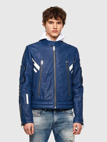 Diesel - L-FULK, Blue - Leather jackets - Image 1