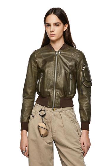 Leather bomber jacket with sleeve pocket