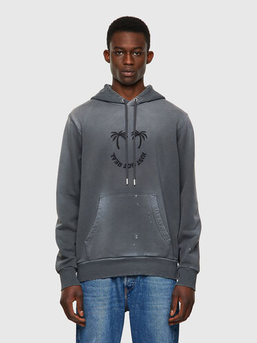 Hoodie with palm embroidery