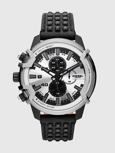 Griffed chronograph black leather watch