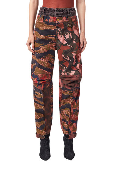 Trousers with camouflage print