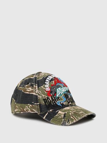 Baseball cap with tiger-camo print
