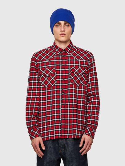 Diesel - S-EAST-LONG-CHK-B, Rojo/Negro - Camisas - Image 1