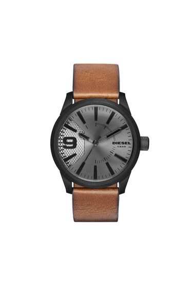 Rasp watch with brown leather strap