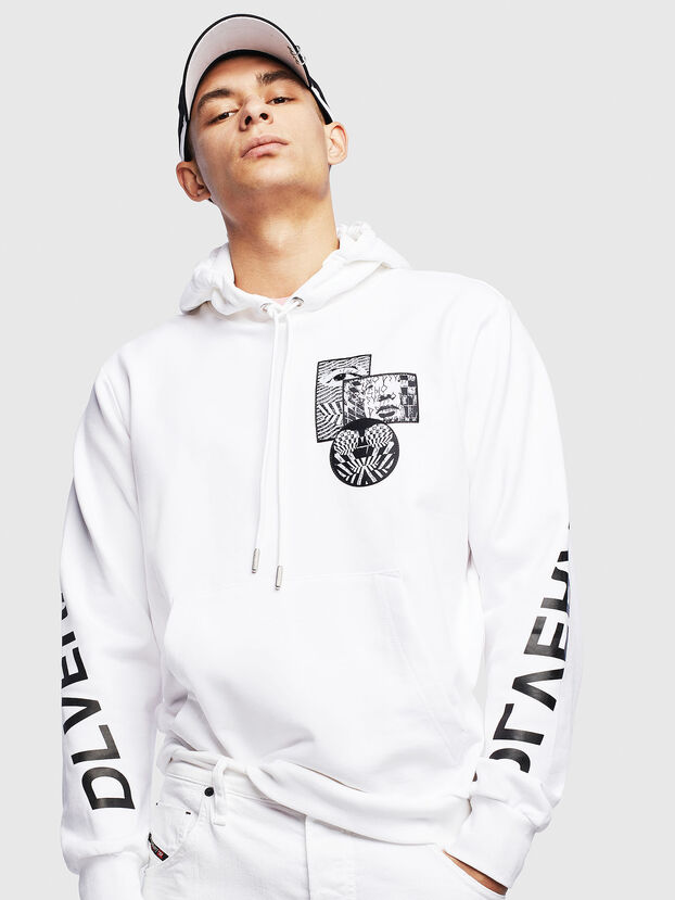 S-GIRK-HOOD-S4, White - Sweatshirts
