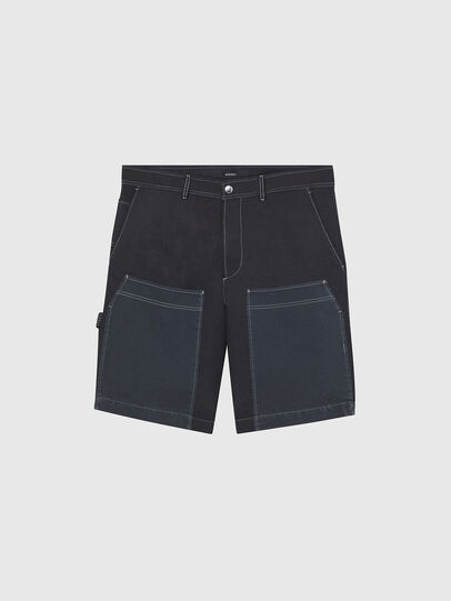 Diesel - P-TRENT-SHORT, Black/Blue - Shorts - Image 1