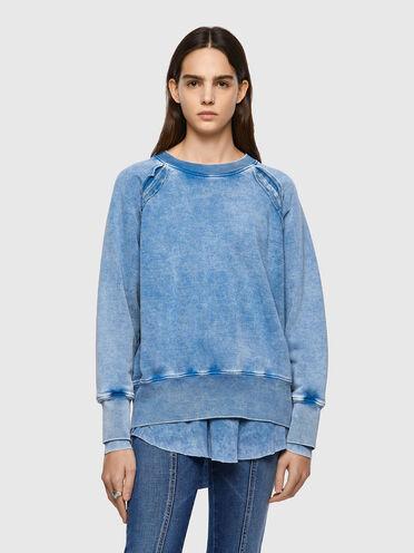 Layered pigment-dyed sweatshirt