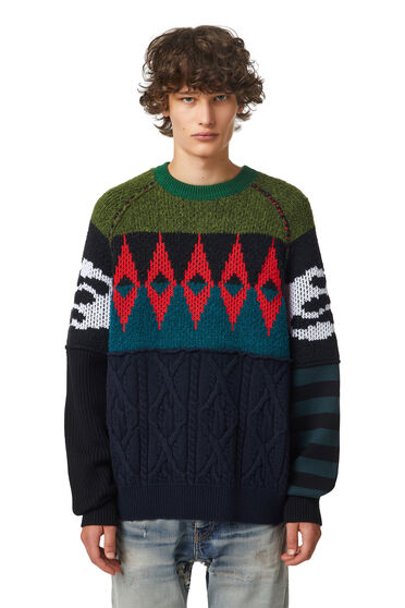 Patchwork wool-blend pullover