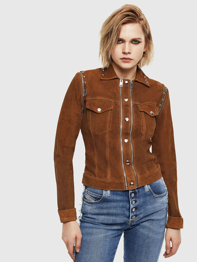 Diesel - L-TAHALI, Brown - Leather jackets - Image 1