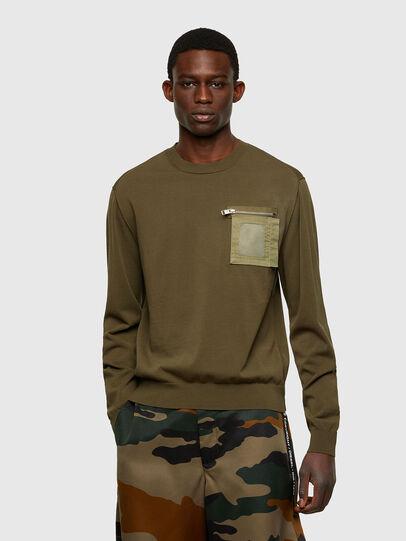 Diesel - K-NAVAJO, Military Green - Sweaters - Image 1