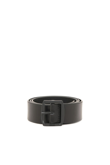 Leather belt with rounded buckle