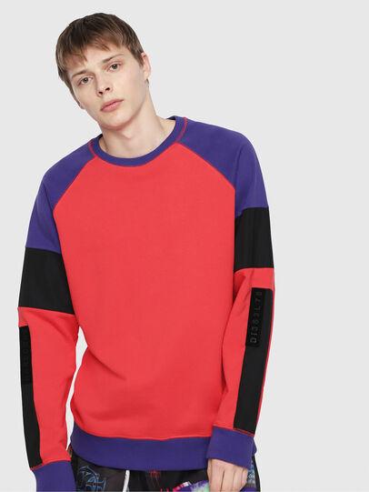 Diesel - S-GIM-BLOCK, Red/Black - Sweatshirts - Image 1