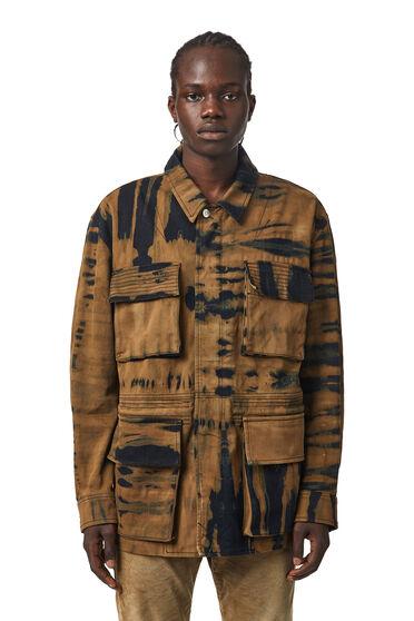 Field jacket in tie-dye denim