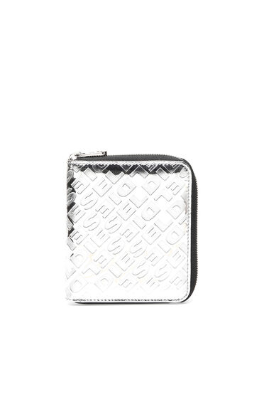Embossed metallic zip-around wallet
