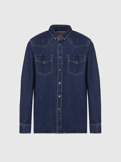 Diesel - D-EAST-P, Dark Blue - Denim Shirts - Image 1