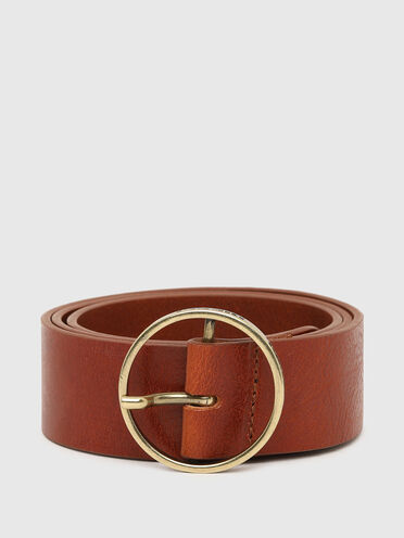 Leather belt with round logo buckle