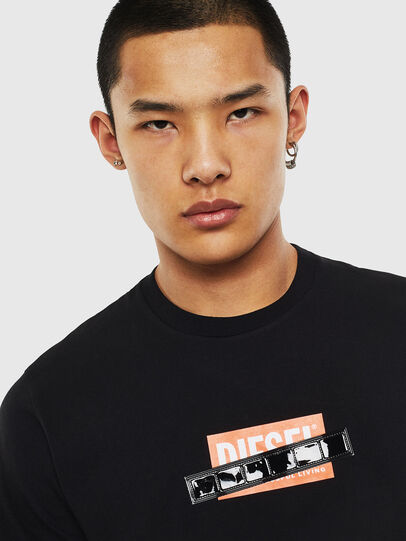 Diesel - T-DIEGO-S7, Black/Orange - T-Shirts - Image 3