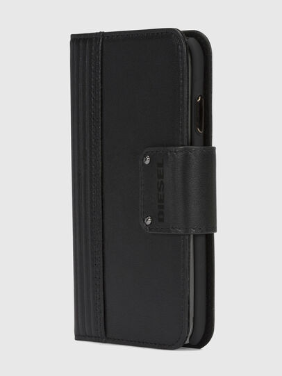 Diesel - BLACK LINED LEATHER IPHONE X FOLIO, Black - Flip covers - Image 3